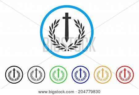Sword Honor Embleme rounded icon. Style is a flat Sword honor embleme grey symbol inside light blue circle with black, gray, green, blue, red, orange color versions.