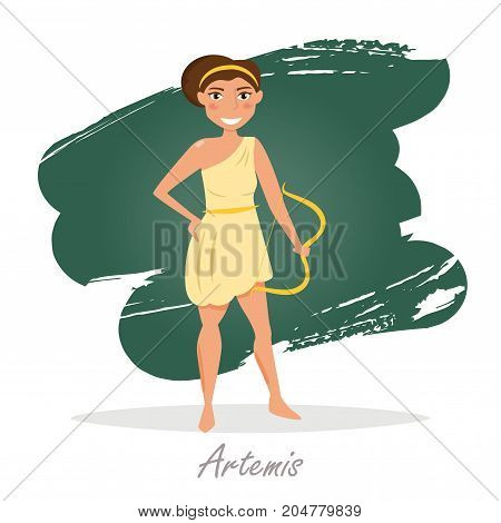 Artemis. Greek gods. Vector illustration. Cartoon character Isolated Flat Mythology