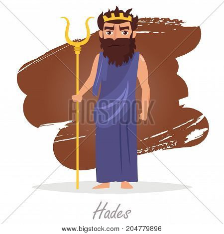 Hades. Greek gods. Vector illustration. Cartoon character Isolated Flat Mythology