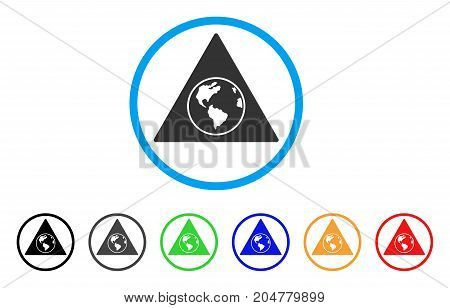 Terra Triangle rounded icon. Style is a flat terra triangle gray symbol inside light blue circle with black, gray, green, blue, red, orange versions. Vector designed for web and software interfaces.