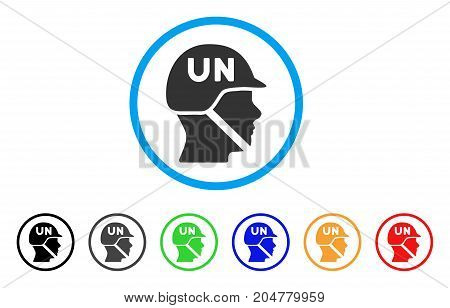 United Nations Soldier Helmet rounded icon. Style is a flat united nations soldier helmet grey symbol inside light blue circle with black, gray, green, blue, red, orange color versions.