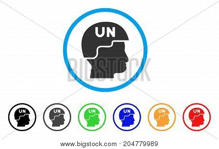United Nations Soldier Helmet rounded icon. Style is a flat united nations soldier helmet gray symbol inside light blue circle with black, gray, green, blue, red, orange versions.