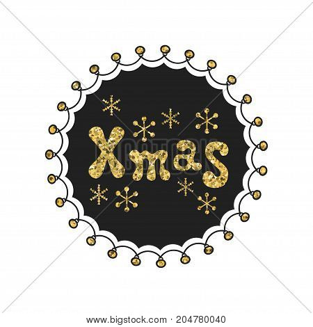 Xmas. Calligraphy gold phrase. Handwritten glitter seasons lettering. Xmas phrase. Hand drawn element. Holidays. Greeting card text. Christmas calligraphy. Label badge sticker. Merry Christmas