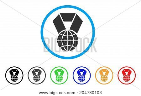 World Award rounded icon. Style is a flat World award gray symbol inside light blue circle with black, gray, green, blue, red, orange versions. Vector designed for web and software interfaces.