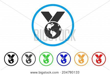 World Medal rounded icon. Style is a flat World medal gray symbol inside light blue circle with black, gray, green, blue, red, orange variants. Vector designed for web and software interfaces.