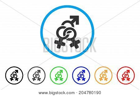 Double Mistress rounded icon. Style is a flat double mistress gray symbol inside light blue circle with black, gray, green, blue, red, orange versions. Vector designed for web and software interfaces.