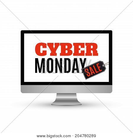 Cyber Monday sale design. Background with computer monitor and price tag, isolated on white background. Vector illustration.