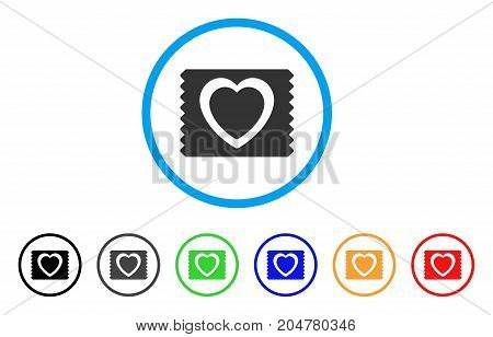 Heart Condom Pack rounded icon. Style is a flat heart condom pack gray symbol inside light blue circle with black, gray, green, blue, red, orange versions.