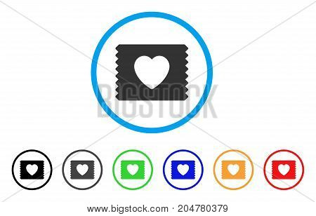 Heart Condom Pack rounded icon. Style is a flat heart condom pack grey symbol inside light blue circle with black, gray, green, blue, red, orange versions.