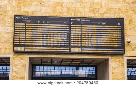 Departure and Arrival Table at Florence Train Station - FLORENCE TUSCANY ITALY - SEPTEMBER 13, 2017