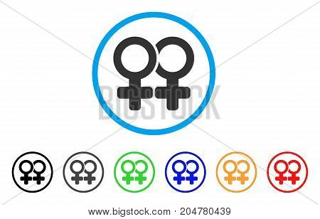 Lesbi Pair rounded icon. Style is a flat lesbi pair gray symbol inside light blue circle with black, gray, green, blue, red, orange color versions. Vector designed for web and software interfaces.