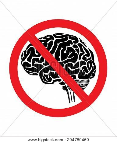 No thinking sign with brain vector.illustration style.