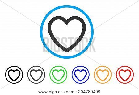 Love Heart rounded icon. Style is a flat love heart grey symbol inside light blue circle with black, gray, green, blue, red, orange color versions. Vector designed for web and software interfaces.
