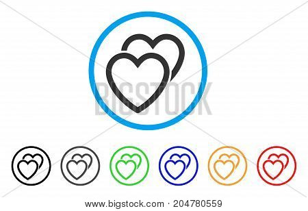 Love Hearts rounded icon. Style is a flat love hearts gray symbol inside light blue circle with black, gray, green, blue, red, orange variants. Vector designed for web and software interfaces.