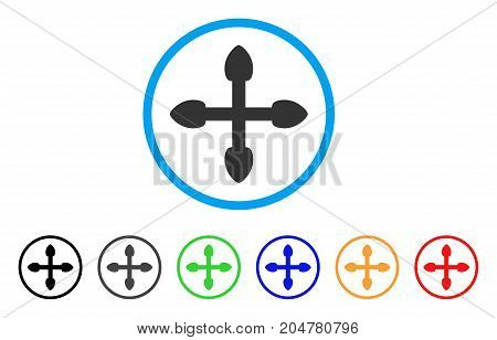 Arrows rounded icon. Style is a flat arrows gray symbol inside light blue circle with black, gray, green, blue, red, orange variants. Vector designed for web and software interfaces.