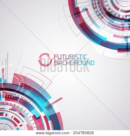 Modern virtual technology background with center place for title text and parts of detailed futuristic circles in corners with gradient overlay vector illustration