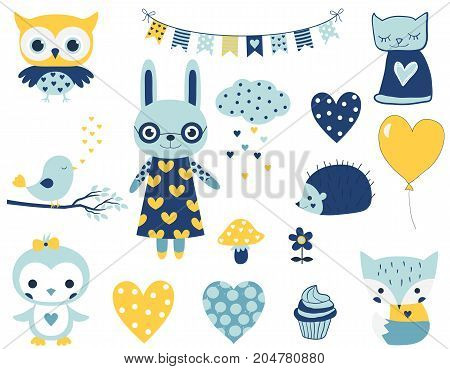 Set of cute vector characters for baby boy showers birthdays and party designs. Fun animals and elements in flat style in blue and yellow colors.