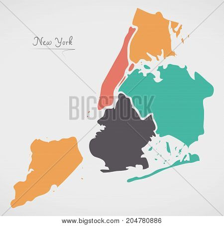 New York Map With Boroughs And Modern Round Shapes