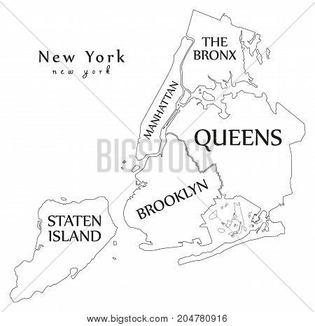 Modern City Map - New York City Of The Usa With Boroughs And Titles Outline Map