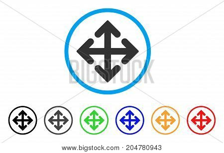 Direction Variants rounded icon. Style is a flat direction variants grey symbol inside light blue circle with black, gray, green, blue, red, orange color versions.