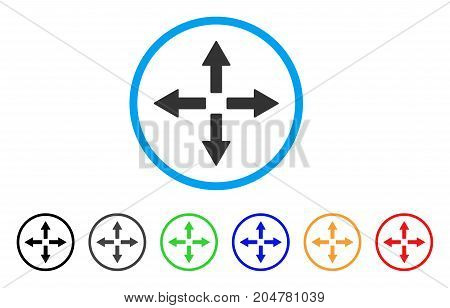 Expand Arrows rounded icon. Style is a flat expand arrows gray symbol inside light blue circle with black, gray, green, blue, red, orange variants. Vector designed for web and software interfaces.