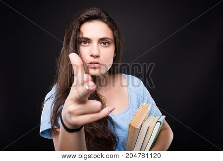 Pretty College Woman Showing Suicide Sign