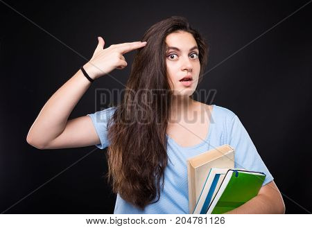 Student Female Looking Bored Of Study