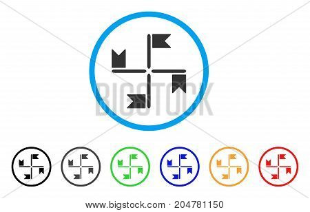 Flags rounded icon. Style is a flat flags gray symbol inside light blue circle with black, gray, green, blue, red, orange color versions. Vector designed for web and software interfaces.