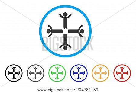 Hands Up Men rounded icon. Style is a flat hands up men gray symbol inside light blue circle with black, gray, green, blue, red, orange color versions. Vector designed for web and software interfaces.