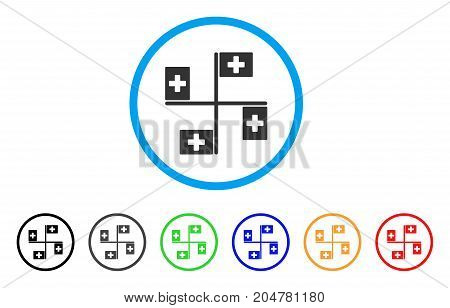 Hospital Flags rounded icon. Style is a flat hospital flags gray symbol inside light blue circle with black, gray, green, blue, red, orange versions. Vector designed for web and software interfaces.