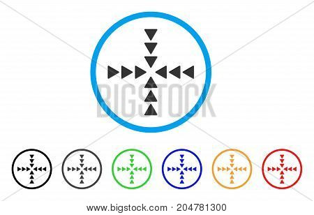 Inside Direction rounded icon. Style is a flat inside direction gray symbol inside light blue circle with black, gray, green, blue, red, orange color versions.