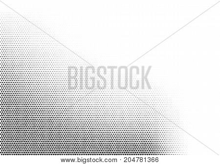 Abstract horizontal halftone monochrome background with dots of different size accumulated in left bottom angle. Grunge gradient dotted texture. Modern vector illustration in black and white colors