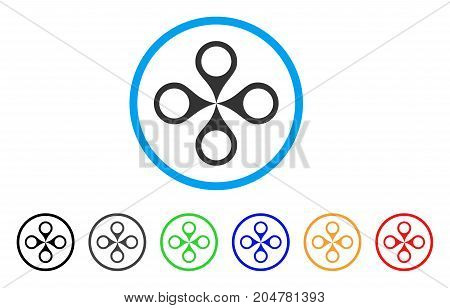 Map Markers rounded icon. Style is a flat map markers grey symbol inside light blue circle with black, gray, green, blue, red, orange versions. Vector designed for web and software interfaces.