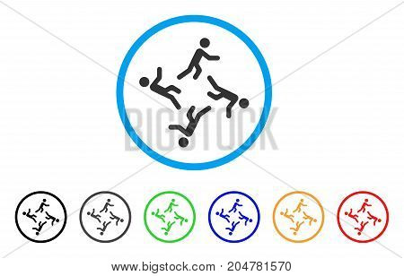 Moving Men rounded icon. Style is a flat moving men gray symbol inside light blue circle with black, gray, green, blue, red, orange color versions. Vector designed for web and software interfaces.