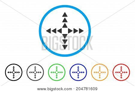 Outside Direction rounded icon. Style is a flat outside direction grey symbol inside light blue circle with black, gray, green, blue, red, orange color versions.