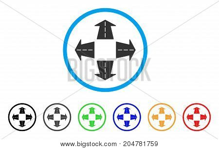 Road Directions rounded icon. Style is a flat road directions gray symbol inside light blue circle with black, gray, green, blue, red, orange color versions.