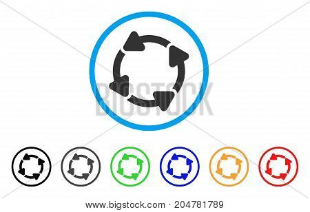 Rotate CW rounded icon. Style is a flat rotate cw gray symbol inside light blue circle with black, gray, green, blue, red, orange color versions. Vector designed for web and software interfaces.