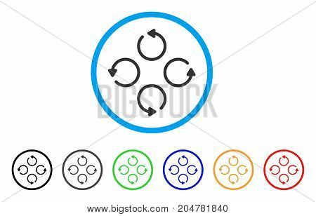 Rotation rounded icon. Style is a flat rotation gray symbol inside light blue circle with black, gray, green, blue, red, orange versions. Vector designed for web and software interfaces.