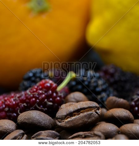 coffee bean and berry orange lemon concept for coffee flavor aroma and tase of fruity juicy