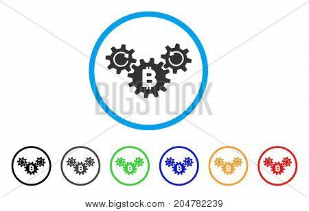 Bitcoin Wheels Rotation rounded icon. Style is a flat bitcoin wheels rotation grey symbol inside light blue circle with black, gray, green, blue, red, orange color versions.