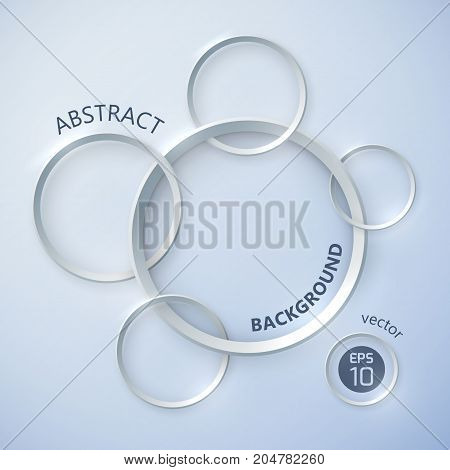 Abstract background with realistic intersecting silver circle images with shadows and curvy title available for editing vector illustration