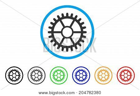 Clock Wheel rounded icon. Style is a flat clock wheel gray symbol inside light blue circle with black, gray, green, blue, red, orange color versions. Vector designed for web and software interfaces.