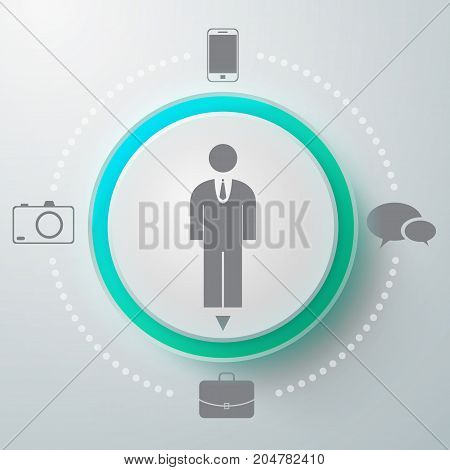 Creative composition with male pictogram inscribed in option selector and different app icons to choose from vector illustration