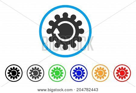 Cog Rotation rounded icon. Style is a flat cog rotation gray symbol inside light blue circle with black, gray, green, blue, red, orange variants. Vector designed for web and software interfaces.