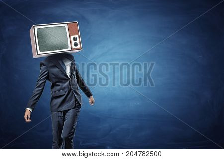 An unsteady businessman standing unevenly with a large retro TV on his head showing gray noise. Messy business. Scam and fraud. Unsure and lost.