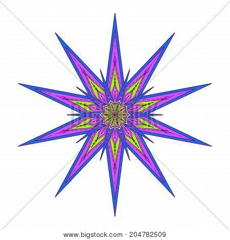 Star in decorative style. Stock line vector illustration. This illustration can be used as a print on T-shirts, bags, tattoo, badges or patch