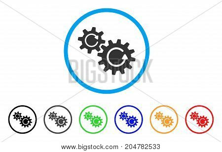 Cogs Rotation rounded icon. Style is a flat cogs rotation grey symbol inside light blue circle with black, gray, green, blue, red, orange variants. Vector designed for web and software interfaces.