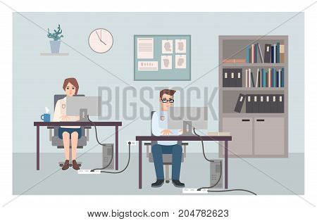 Young male and female police officers sitting at desks and investigating crimes. Policemen or cops working at computers at criminal investigation office. Flat cartoon characters. Vector illustration