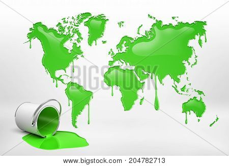 3d rendering of a half empty bucket lying on its side near a large word map with all continents leaking paint. Eco-friendly technologies. Business and environment. Oil and gas industry.