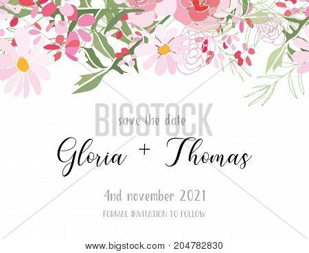 Greeting card for the wedding day with a bouquet of flowers. Flower composition to a celebratory event. Vector illustration